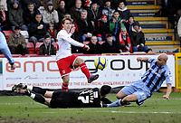 FA Cup 4th Round Stevenage Borough v Notts County<br />Luke Freeman scores 1st goal for Stevenage maybe OK