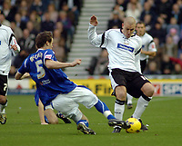 Photo: Kevin Poolman.<br />Derby County v Leicester City. Coca Cola Championship. 25/11/2006. Seth Johnson of Derby is tackled by Patrick McCarthy of Leicester.