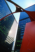 """Image of Calder's """"Flamingo"""" sculpture in downtown Chicago, Illinois, American Midwest by Andrea Wells"""