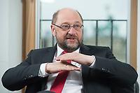 22 FEB 2016, BERLIN/GERMANY:<br /> Martin Schulz, SPD, Praesident des Europaeischen Parlamentes, waehrend einem Interview, Spiegel Hauptstadtbuero<br /> IMAGE: 20160222-01-025