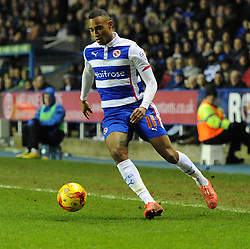 Reading's Jordan Obita in action during the Sky Bet Championship match between Reading and Wigan Athletic at Madejski Stadium on 17 February 2015 in Reading, England - Photo mandatory by-line: Paul Knight/JMP - Mobile: 07966 386802 - 17/02/2015 - SPORT - Football - Reading - Madejski Stadium - Reading v Wigan Athletic - Sky Bet Championship