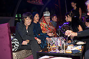 RONNIE WOOD; ANA ARAUJO;;LEO BELLICA;  ROBERTO CAVALLI, Dinner and party  to celebrate the launch of the new Cavalli Store at the Battersea Power station. London. 17 September 2011. <br /> <br />  , -DO NOT ARCHIVE-© Copyright Photograph by Dafydd Jones. 248 Clapham Rd. London SW9 0PZ. Tel 0207 820 0771. www.dafjones.com.