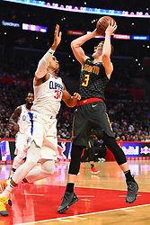 January 29, 2019 - Los Angeles, CA, U.S. - LOS ANGELES, CA - JANUARY 28: Atlanta Hawks Guard Kevin Huerter (3) goes up for a shot over Los Angeles Clippers Forward Tobias Harris (34) during a NBA game between the Atlanta Hawks and the Los Angeles Clippers on January 28, 2019 at STAPLES Center in Los Angeles, CA. (Photo by Brian Rothmuller/Icon Sportswire) (Credit Image: © Brian Rothmuller/Icon SMI via ZUMA Press)