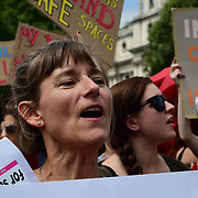 London, UK. 4 July 2018. Sex workers and human rights activists protest outside Parliament against a Trump-inspired law that would endanger sex workers and empower exploiters. Ahead of a debate in the House of Commons on Wednesday.