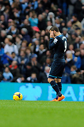 Tottenham Hotspur's Roberto Soldado puts his hands in his head as Tottenham Hotspur concede the 6th goal - Photo mandatory by-line: Dougie Allward/JMP - Tel: Mobile: 07966 386802 24/11/2013 - SPORT - Football - Manchester - Etihad Stadium - Manchester City v Tottenham Hotspur - Barclays Premier League