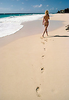 Footsteps in the sand on Crane Beach, Barbados. Photographed by Terry Fincher