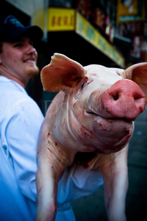 Travis, butcher in NYC, delivers a whole pig to a restarant in Chinatown on August 8, 2008.