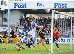Bristol Rovers and Mansfield players watch Bristol Rovers' Mark McChrystal effort hit the post - Photo mandatory by-line: Joe Meredith/JMP - Mobile: 07966 386802 03/05/2014 - SPORT - FOOTBALL - Bristol - Memorial Stadium - Bristol Rovers v Mansfield - Sky Bet League Two
