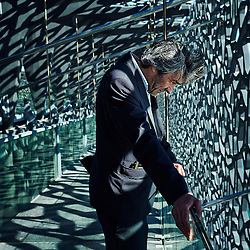 """MARSEILLE, FRANCE. MAY 3, 2013. Architect Rudy Ricciotti posing at the """"Mucem"""", a sea museum he designed (to be opened in June 2013). Photo: Antoine Doyen"""
