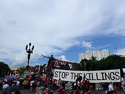 June 12, 2017 - Manila, Philippines - During the 119th Independence Day celebration in Manila, different civil, militant, religious and activists groups joined the anti-Martial Law in Mindanao and extrajudicial killings. (Credit Image: © Sherbien Dacalanio/Pacific Press via ZUMA Wire)