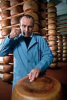 November 1989, Parma, Italy --- Cheesemaker Checking Parmesean Cheese Quality --- Image by © Owen Franken/CORBIS