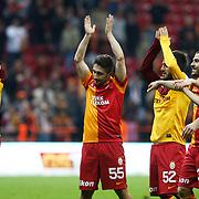 Galatasaray's players celebrate victory their Turkish Superleague soccer match Galatasaray between SB Elazigspor at the AliSamiYen Spor Kompleksi at Aslantepe in Istanbul Turkey on Friday 19 April 2013. Photo by TURKPIX