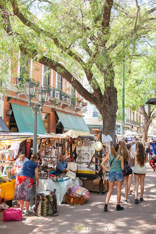 Market stalls, San Telmo District, Buenos Aires, Argentina, South America