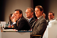 08 DEC 1999, BERLIN/GERMANY:<br /> Gerhard Schröder, SPD Parteivorsitzender, Rudolf Scharping, Stellv. SPD Parteivorsitzender, und Franz Müntefering, SPD Generalsekretär, SPD Bundesparteitag, Hotel Estrell<br /> Gerhard Schroeder, Fed. Chancellor and SPD Chairman, Rudolf Scharping, Fed. Minister of Defense and SPD Vice Chairman, and Franz Muentefering, SPD Fed. General Secretary, during the Federal Party Congress of the Social Democratic Party<br /> IMAGE: 19991208-01/09-23<br /> KEYWORDS: Parteitag