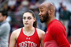 Chiaravalle, coach Lambert, BU<br /> Boston University Scarlet and White<br /> Indoor Track & Field, Bruce LeHane