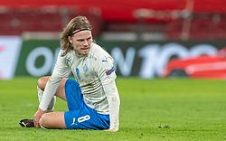 Birkir Bjarnason (Island) under kampen i Nations League mellem Danmark og Island den 15. november 2020 i Parken, København (Foto: Claus Birch).