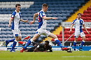 Fejiri Okenabirhie of Doncaster Rovers goes to ground after a challenge by Darragh Lenihan of Blackburn Rovers, Referee Anthony Backhouse awarded a penalty, during the EFL Cup match between Blackburn Rovers and Doncaster Rovers at Ewood Park, Blackburn, England on 29 August 2020.
