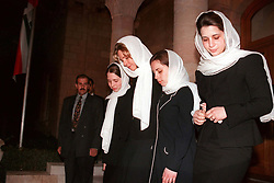 King Hussein's wife Queen Noor (2nd from L) and daughters seen during his funeral at the Royal palace in Amman, Jordan on February 8, 1999. Twenty years ago, end of January and early February 1999, the Kingdom of Jordan witnessed a change of power as the late King Hussein came back from the United States of America to change his Crown Prince, only two weeks before he passed away. Photo by Balkis Press/ABACAPRESS.COM