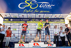 Best in overall classification: Second placed Giovanni Visconti (ITA) of Bahrain-Merida, winner Rafal Majka (POL) of Bora - Hansgrohe and third placed Jack Haig (AUS) of Orica - Scott celebrate at trophy ceremony after the last Stage 4 of 24th Tour of Slovenia 2017 / Tour de Slovenie from Rogaska Slatina to Novo mesto (158,2 km) cycling race on June 18, 2017 in Slovenia. Photo by Vid Ponikvar / Sportida