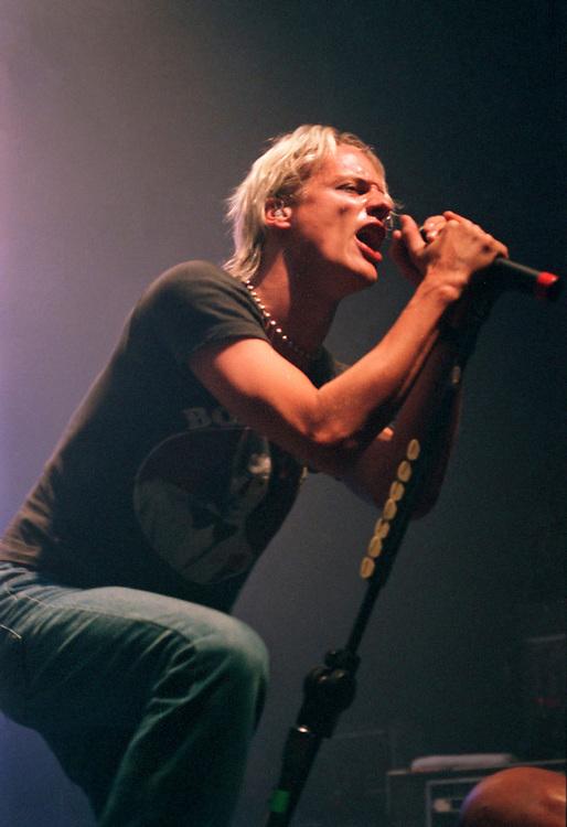 PHILADELPHIA - SEPTEMBER 18: Fuel singer Brett Scallions performs at Theatre of Living Arts on September 18, 2000, in Philadelphia, Pennsylvania. (Photo by Lisa Lake)
