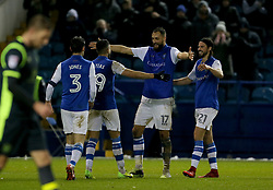 Sheffield Wednesday's Atdhe Nuhiu celebrates scoring his side's second goal of the game with Marco Matias