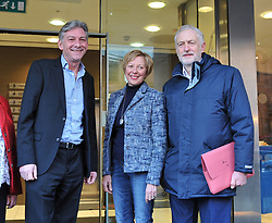 New Scottish Labour leader Richard Leonard welcomes Labour leader Jeremy Corbyn to the Labour NEC meeting in Glasgow on Sunday, flanked by Shadow Scottish Secretary Lesley Laird.<br /> <br /> <br /> © Dave Johnston/ EEm