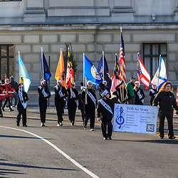 Philadelphia, PA / USA – November 26, 2014: The All Star Band marches in the Thanksgiving Day Parade representing talented High School Students of the Tournament of Bands.