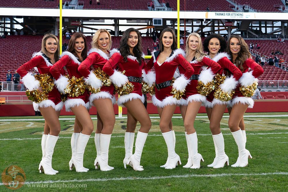 December 23, 2018; Santa Clara, CA, USA; (L-R) San Francisco 49ers Gold Rush cheerleaders Tiffany, Laurel, Shasta, Kaitlin, Sierrah, Devin, Melissa, and Cassie after the game against the Chicago Bears at Levi's Stadium.