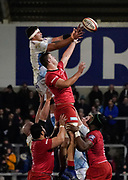 Sale Sharks flanker Jono Ross wins a line out during a Premiership Rugby Cup Semi Final  won by Sale 28-7, Friday, Feb. 7, 2020, in Eccles, United Kingdom. (Steve Flynn/Image of Sport)