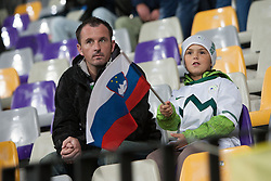 Spectators during football match between National teams of Slovenia and Cyprus in 3rd Round of Group E of FIFA World Cup 2014 Qualification on October 12, 2012 in Stadium Ljudski vrt, Maribor, Slovenia. (Photo by Gregor Krajncic / Sportida)