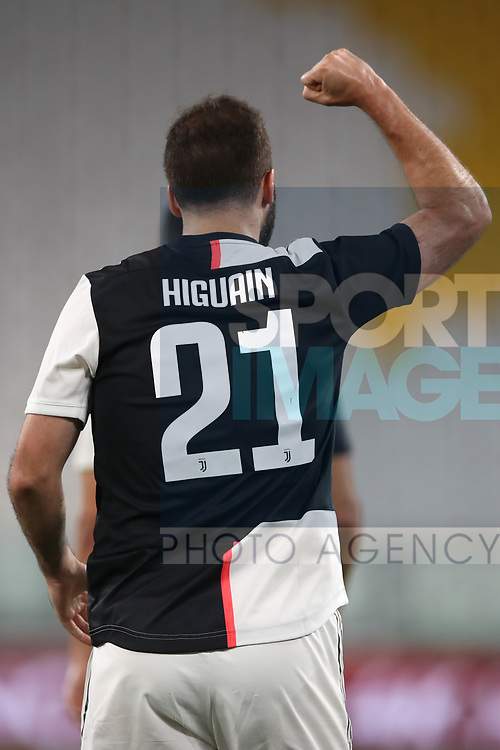 Juventus's Argentinian striker Gonzalo Higuain celebrates after scoring to give the side a 3-0 lead during the Serie A match at Allianz Stadium, Turin. Picture date: 26th June 2020. Picture credit should read: Jonathan Moscrop/Sportimage