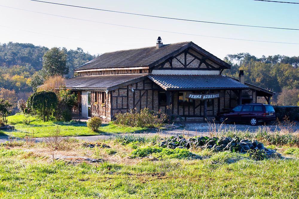 The farm house that is also a restaurant where duck specialities are served. Ferme de Biorne duck and fowl farm Dordogne France