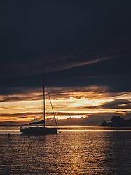 THEMENBILD - ein Segelboot bei Sonnenuntergang, aufgenommen am 03. Juli 2020 in Novigrad, Kroatien // a sailing boat in the harbour at sunset, in Novigrad, Croatia on 2020/07/03. EXPA Pictures © 2020, PhotoCredit: EXPA/ Stefanie Oberhauser