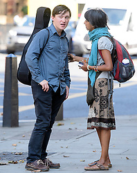 © London News Pictures. 14/09/2016. London, UK. ALEX ECHART (left) leaves Westminster Magistrates Court in London where he was one of nine Black Lives Matter campaigners who pleaded guilty to charges relating to a protest at London City Airport on September 6, in which the protest group locked themselves together on the airport's runway.  Photo credit: Ben Cawthra/LNP