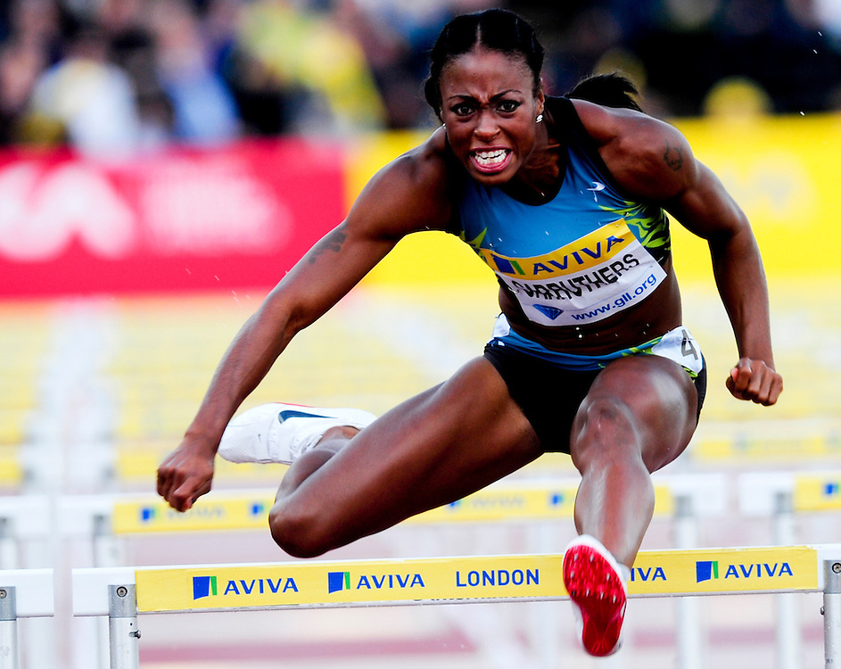 USA's Danielle Carruthers competes during the women's 400m hurdels heats race