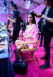 Bella Hadid backstage at the Victoria's Secret fashion show held at The Grand Palais, Paris, France.