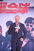 """BEIJING, CHINA - AUGUST 01: (CHINA OUT) <br /> <br /> Jason Statham Visits Beijing<br /> <br /> Actor Jason Statham and actress Zhang Huiwen attend """"The Expendables 3"""" press conference at Kempinski Hotel on August 1, 2014 in Beijing, China.<br /> ©Exclusivepix"""