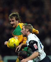 Photo: Paul Greenwood.<br />Preston North End v Norwich City. Coca Cola Championship. 20/02/2007. Norwich's Andy Hughes, nods the ball past Kevin Wilson