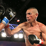 Cosme Rivera (R) catches Sergei Lipinets against the ropes during a Telemundo Boxeo boxing match at the A La Carte Pavilion on Friday,  March 13, 2015 in Tampa, Florida. (AP Photo/Alex Menendez)