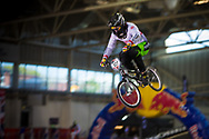 #107 (FRANEK Tobias) AUT at the 2014 UCI BMX Supercross World Cup in Manchester.