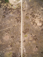 Aerial view above of path crossing deforested land, Netherlands.