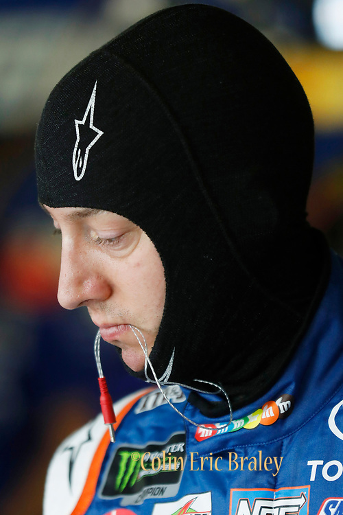 NASCAR Cup Series driver Kyle Busch gets ready for a practice run at Kansas Speedway in Kansas City, Kan., Friday, May 11, 2018. (AP Photo/Colin E. Braley)