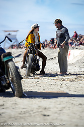 """Brittney Olsen on her """"One of One"""" Harley-Davidson at the Race of Gentlemen. Wildwood, NJ, USA. October 10, 2015.  Photography ©2015 Michael Lichter."""