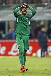 January 21, 2018 - Rome, Italy - Olympic Stadium, MILAN, Italy - 21/01/2018..Alisson Becker of Roma reacts during their Italian Serie A soccer match...Credit: Giampiero Sposito/Pacific Press (Credit Image: © Giampiero Sposito/Pacific Press via ZUMA Wire)