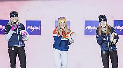 04.03.2021, Oberstdorf, GER, FIS Weltmeisterschaften Ski Nordisch, Oberstdorf 2021, Damen, Nordische Kombination, Siegerehrung, im Bild v.l.: Silbermedaillengewinner Frida Karlsson (SWE), Weltmeisterin und Goldmedaillengewinner Therese Johaug (NOR), Bronzemedaillengewinner Ebba Andersson (SWE // f.l.: Silver medalist Frida Karlsson of Sweden World champion and gold medalist Therese Johaug of Norway Bronze medalist Ebba Andersson of Sweden during the winner ceremony for the women Nordic combined of FIS Nordic Ski World Championships 2021 in Oberstdorf, Germany on 2021/03/04. EXPA Pictures © 2021, PhotoCredit: EXPA/ Dominik Angerer