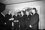 Road Safety Fortnight..1964..18.12.1964..12.18.1964..18th December 1964..After a fortnight of publicity and campaigning for better road safety, the Minister for Local Government, Mr Neil Blaney TD, met with road safety officials to review the results of the campaign. The press conference was held at the Intercontinental Hotel, Dublin...At the press conference, image shows, (L-R), Rev Denis Kennedy SJ, President, Safety First Association of Ireland; Mr William Lemass, Secretary, Society of Irish Motor Traders; Mr Neil Blaney TD; Mr John Garvin, Secretary, Dept of Local Government and Mr E Sheehy, principal Officer,Road Traffic Section, Dept of Local Government.