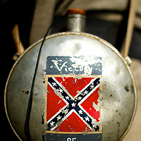 A rebel infantryman's canteen reads 'Victory or Death' at a living history event in Ridley Creek State Park in Newtown Square, Pennsylvania.