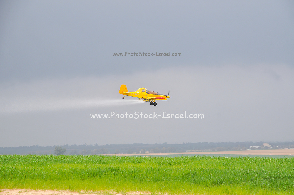 Crop-dusting. a plane is spraying insecticide over a field. Photographed in the Northern Negev desert, Israel