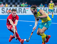 BHUBANESWAR, INDIA - Zachary Wallace  (Eng) with Jeremy Hayward (Aus)    , England v Australia for the bronze medal during the Odisha World Cup Hockey for men  in the Kalinga Stadion.   COPYRIGHT KOEN SUYK