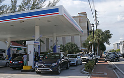 Cars line up for gasoline at a Marathon gas station in preparation for the arrival of Hurricane Irma on Wednesday, September 6, 2017 in North Miami, FL, USA. Photo by David Santiago/Miami Herald/TNS/ABACAPRESS.COM